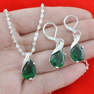 925 Silver Emerald Pendant Jewelry Necklace Drop Earring Set With Chain 24 Inch