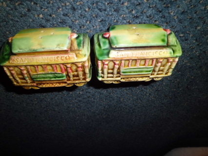 VINTAGE PR EFCCO CALIFORNIA CABLE CAR SALT/PEPPER SHAKERS XLNT COND FREE SHIPPING!