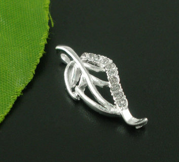 2 Silver Plated Rhinestone Leaf Charms / Pendants