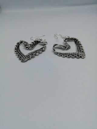 Carved Tibetan Silver HeartEarrings