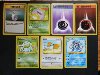 (7) Pokemon Cards - TrainerPotion Koffing Energys Bulbasaur Doduo Poliwhirl c1999 to c2000 Wizards