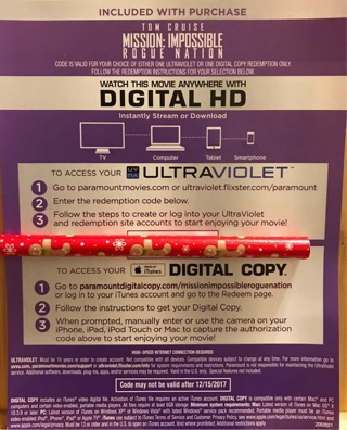 Free: Mission: Impossible Rogue Nation HD UV/ iTunes code