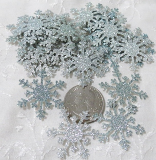 Blue Ombre Glittery Cardstock Snowflakes 30