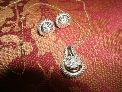 Gold over Sterling Diamond Pendant Necklace w/ Earrings