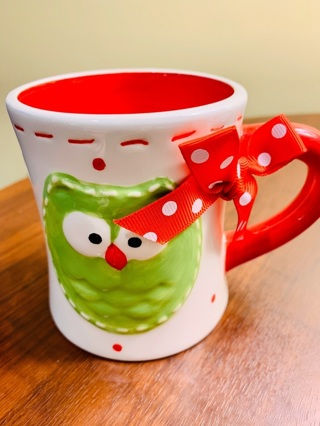 Brand New Gift Quality Ceramic Owl Red & Green Christmas Mug ~One of the Kind~