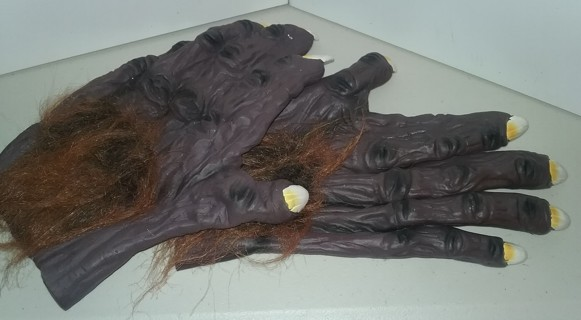 """Adult-size Halloween Warewolf rubber gloves with fake fur - 10"""" long X 5"""" wide - VG condition"""