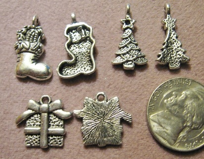Mix of Silver Pewter Christmas Charms ~ good for earrings