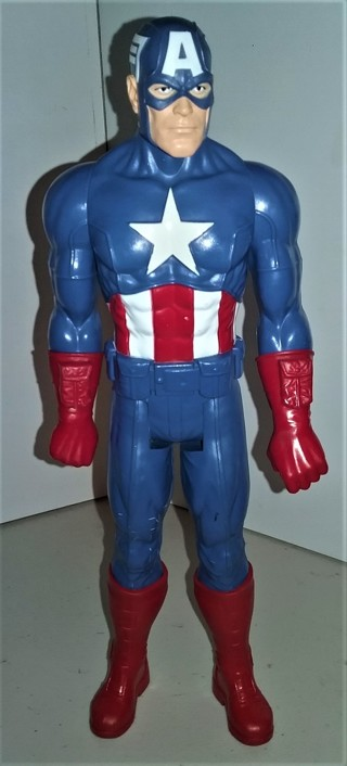 """2013 Marvel CAPTAIN AMERICA articulated plastic action figure - 11 1/2"""" tall - without his shield"""