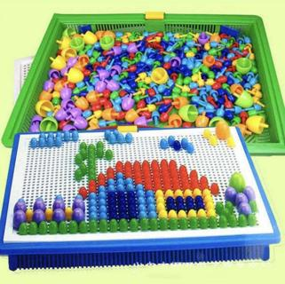 Children Kids Puzzle Peg Board 296 Pegs Early Educational Toys Creative Mosaic @