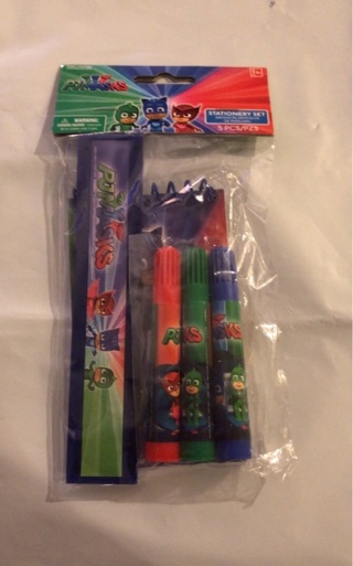 """BNIP """"PJ MASKS"""": 5 Piece Stationery Set! Ruler / Markers / 40 Page Note pad."""