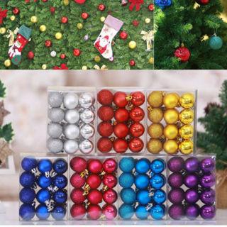 24PCS Christmas Tree Glitter Balls Bauble Hanging Decor Home Party Ornaments 3cm