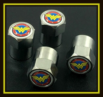 4-Piece Set! WONDER WOMAN WW Tire VALVE Stem CAPS! Brand New!