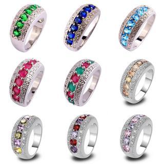 Gift Peridot Pink Topaz Garnet Morganite Gems Silver Ring Sz 6 7 8 9 10 11 12 13