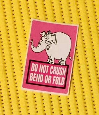 24 DO NOT CRUSH Stickers with PINK ELEPHANTS!
