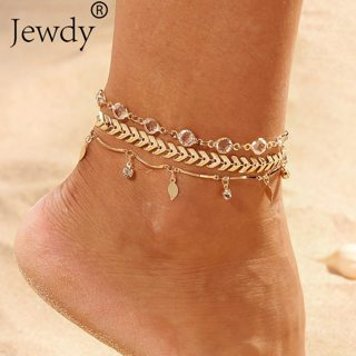 3PCS/SET Crystal Star Female Anklets Barefoot Crochet Sandals Foot Jewelry New Anklets Foot Ankle