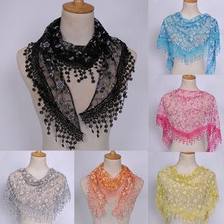 Women Lace Sheer Triangle Veil Church Mantilla Scarf Shawl Wrap Tassel Floral
