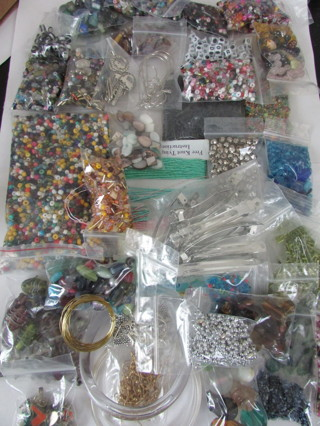 MEGA Jewelry Making Lot!- Over 3lbs of Supplies-Glass Beads, Wire, Earring Hooks, Spacers, ETC...