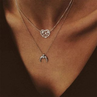 Classic Hollow Heart Love Moon Pendant Chain Double Layer Necklace Women Fashion Party Silver