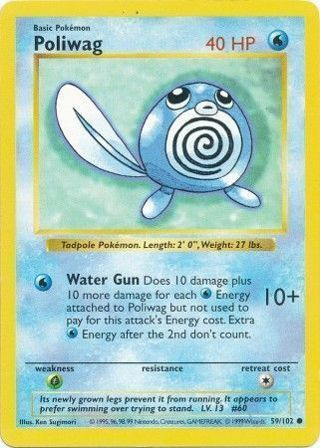 Poliwag 59/102 Common (Shadowless) Base Set Shadowless Single Pokemon Cards TCG