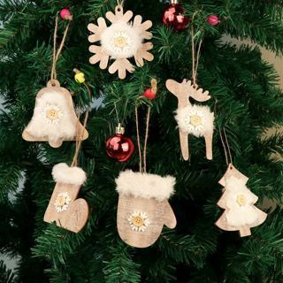 [GIN FOR FREE SHIPPING] 6Pcs Wooden Christmas Ornaments New Year Tree Pendant Hanging Decor