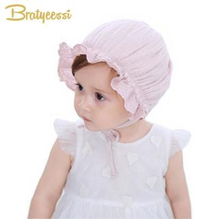 New Princess Infant Bonnet for Girls Cotton Baby Hat for 4-18 Months Pink/White