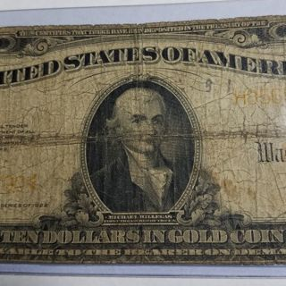 1922 $10 Gold Certificate Large Size Bank Note