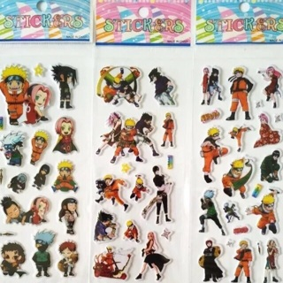 3 sheets Naruto puffy stickers