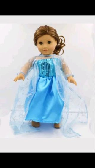 ** DRESS LIKE ELSA WEARS ** FITS 18 INCH DOLL* AMERICAN GIRL* OUR GENERATION * FREE SHIPPING*