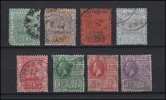 Classic Era British Guina stamps (8), U/F-VF, with Scott IDs