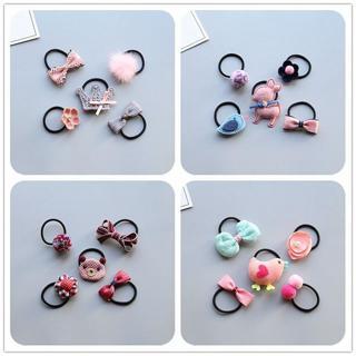 MIXIU 5pcs Lovely Cartoon Baby Girl Elastic Hair Bands Ponytail Holder Children Rubber Band Hair R