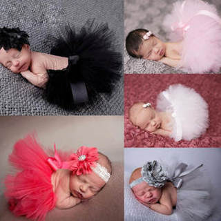 [GIN FOR FREE SHIPPING] Newborn Baby Flower Hairband Tutu Skirt Photo Prop Costume Outfit