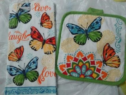 Butterfly Hand Towel and Pot Holder