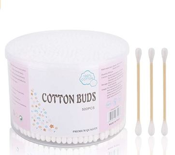 500pcs Cotton Swabs with Natural Hard Wooden Stick, Double Round Head Cotton Buds for Daily Use
