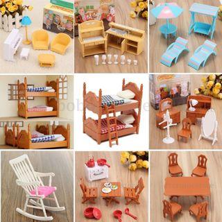 Dolls House Kitchen Room Bedroom Miniature Furniture Set Child Kids Gift Toys