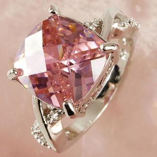 Women Fashion Pink & White Gemstone Engagement Ring Wedding Band Rings Size 6-8