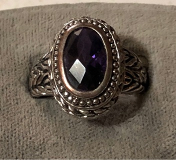 Vintage Amethyst Rhinestone Ring SZ 8.5