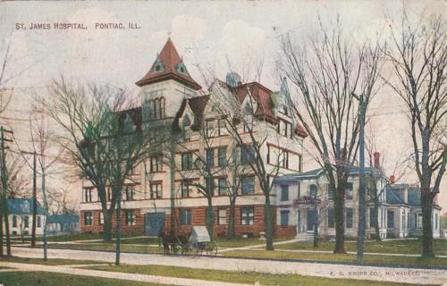 Vintage Used Postcard: 1909 St James Hospital, Pontiac, IL