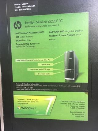 HP COMPUTER PAVILION SLIMLINE s5220f PC