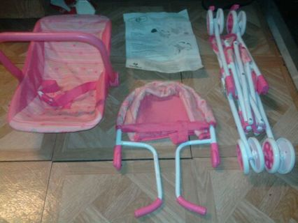BABY DOLL STROLLER CAR SEAT AND EATING HIGH CHAIR
