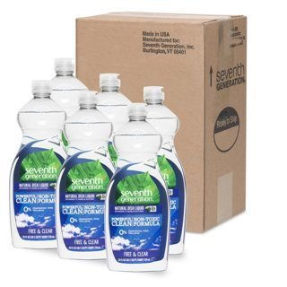 6-Pack Seventh Generation Free and Clear Dish Liquid 25 ounce