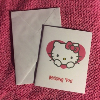 Sanrio Hello Kitty Blank Note Card w/Envelope ~ MISSING YOU ~ NEW!