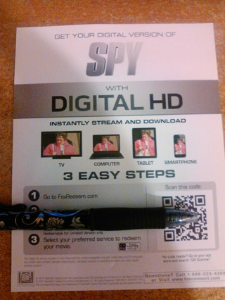 Blu-ray digital copy of Spy unrated