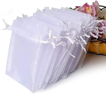 12 Premium Sheer Organza Bags, White Wedding Favor Bags with Drawstring, 4x4.72 Jewelry Gift Bags