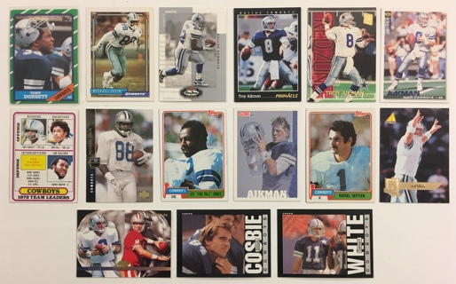15 Dallas Cowboys Vintage 1980s, 1990s, 2000s Football Cards Tony Dorsett / Emmitt Smith