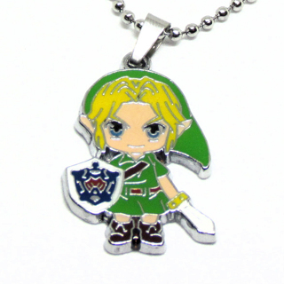 """Legend of Zelda Link Necklace 18"""" Stainless Steel Ball Chain"""