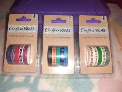 ❤❇️❤❇️❤️3 BRAND NEW PACKS OF ASSORTED MINI DECO TAPES(15 ROLLS TOTAL)❤❇️❤❇️❤(ONLY 1!)