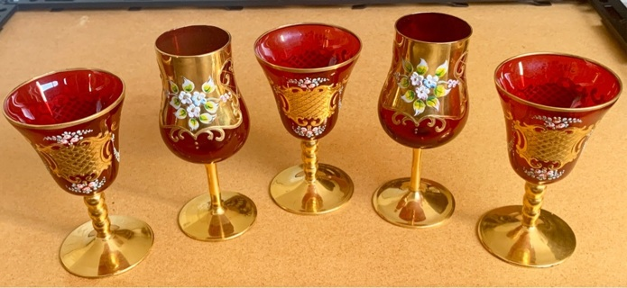 (5) Murano Ruby Red 24k Gold goblets. (Rare) (valued at $950)