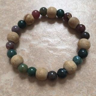 Wood beaded boho bracelet