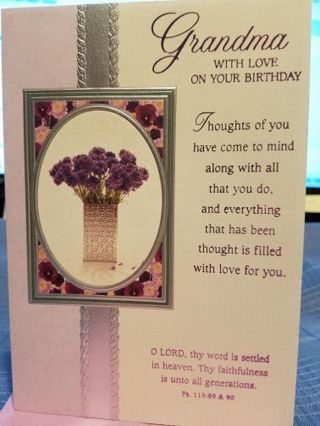 """""""GRANDMA WITH LOVE ON YOUR BIRTHDAY"""" CARD W/ LAVENDER COLORED ENVELOPE"""