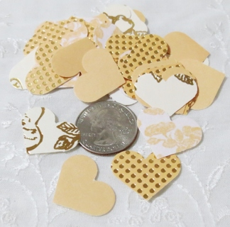 Peach and Gold Cardstock Heart Die Cuts 40